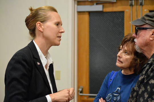 Democrat Elizabeth Betancourt (left) speaks with voters after the the Oct. 8 candidate forum held in Redding. Betancourt is running to represent California's 1st Assembly District in a 2019 special election.