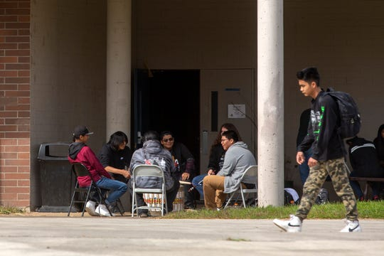 During the lunch period, students gather to play drums at the Chemawa Indian School in Salem, Oct. 2, 2019. A federal gag order was recently lifted around the Native American boarding school after a congressional hearing.