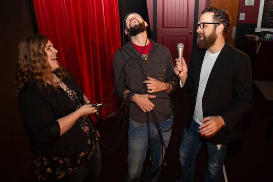 (L-R) Julie Shadlow, Chris Pelka and Jared Richard pose for a portrait at the Capitol City Theater in Salem, Sept. 26, 2019. Pelka is the newest co-owner of the comedy club, the tech guru who has amplified performances with new sound and lighting systems.