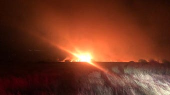 This video shows the Cross Fire at night and the morning after it broke out near Bradley. It is just shy of 300 acres and 30 percent contained.