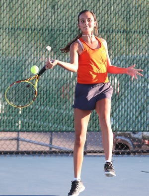San Angelo Central High School's Olivia Henderson hits a forehand during a girls doubles match against Abilene High at the Tut Bartzen Tennis Complex on Tuesday, Oct. 8, 2019.