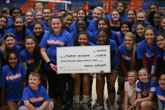 The San Angelo Central High School volleyball team helped raise funds for Lee Middle School student Peighton Strickland during a home match against Fort Worth Haltom on Tuesday, Oct. 8, 2019. Strickland was injured in a boating accident this past summer and she has undergone 11 surgeries and skin grafts to her legs.