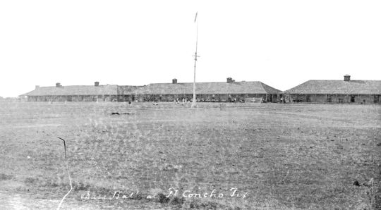 A baseball game is played on the Parade Ground at Fort Concho in 1887. Baseball's popularity was established in the Civil War era.