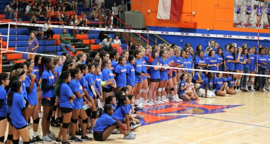 "The San Angelo Central High School subvarsity and varsity volleyball teams dedicated their match against Fort Worth Haltom as ""Peighton Strong"" night on Tuesday, Oct. 8, 2019. Peighton Strickland is a Lee Middle School student who was injured in a boating accident this past summer."