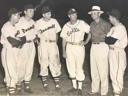 Representatives of the Roswell Rockets and San Angelo Colts visit before a game on June 4, 1952.  The Colts finished fifth that season.