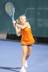 San Angelo Central High School's Trinity Pfluger returns a shot during a girls singles match against Abilene High's Tia Pupella at the Tut Bartzen Tennis Complex Tuesday, Oct. 8, 2019. Abilene defended its District 3-6A title with a 12-7 win.