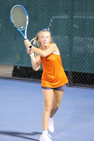 San Angelo Central High School's Trinity Pfluger returns a shot in a file photo.
