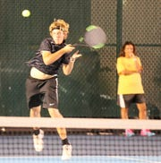 Abilene High's Dylan Haught hits a shot during his boys singles match against San Angelo Central's Richie Ramos at the Tut Bartzen Tennis Complex on Tuesday, Oct. 8, 2019.  Ramos won in three sets, but Abilene won the team title 12-7 to defend its District 3-6A title.