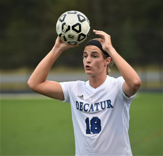 Stephen Decatur's Eric Gwin attempts a throw-in against Pocomoke on Tuesday, Oct. 8, 2019.