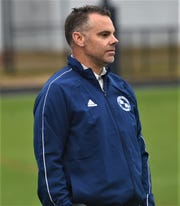 Stephen Decatur soccer coach Jamie Greenwood watches his team against Pocomoke on Tuesday, Oct. 8, 2019.