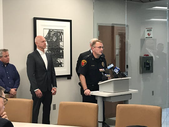 Sheboygan Police Chief Christopher Domagalski speaks at a news conference Wednesday, October 9, 2019 after a 9-year-old boy was struck by a city garbage truck. The boy died at the scene.