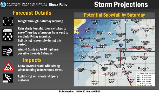 A graphic showing snow totals for eastern South Dakota.
