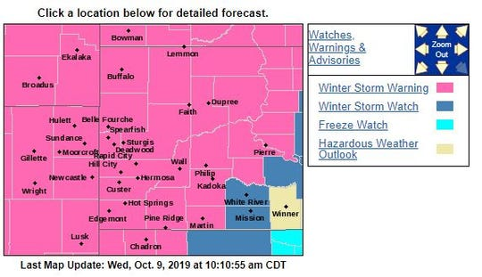 Warnings and watches for western South Dakota