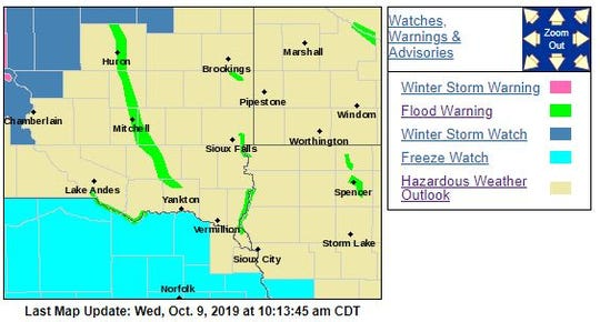 Warnings and watches for eastern South Dakota
