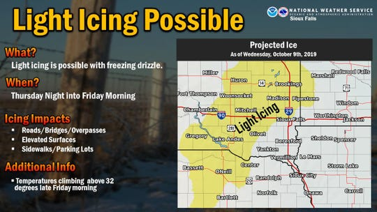 A weather graphic showing the possibility of ice buildup in eastern South Dakota.