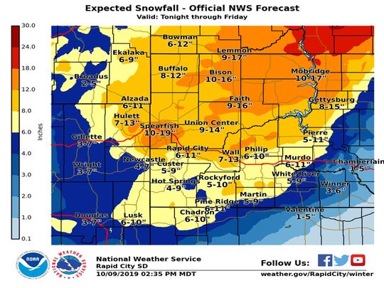 A graphic showing snowfall totals for western South Dakota.