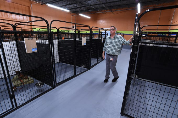 Erick Gill, Communications Director of St. Lucie County, is seen during St. Lucie County's Animal Safety, Service and Protection Division's open house/press conference on the new temporary animal shelter on Wednesday, Oct. 9, 2019, at 2700 Industrial Avenue 3 at the Treasure Coast International Airport and Business Park in St. Lucie County. The shelter has the ability to house more than 100 animals within roughly 8,200-square-feet of the 21,000-square foot building, and can add additional housing as needed.