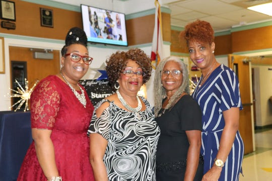 Tonya McClinton, left, Marilyn McClinton, Vera Smith and Levonia Bright at the 2019 Starry Night gala at the Gifford Youth Achievement Center.