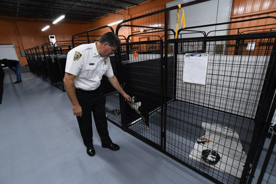 St. Lucie County Sheriff Ken Mascara is seen during St. Lucie County's Animal Safety, Service and Protection Division's open house/press conference on the new temporary animal shelter on Wednesday, Oct. 9, 2019, at 2700 Industrial Avenue 3 at the Treasure Coast International Airport and Business Park in St. Lucie County. The shelter has the ability to house more than 100 animals within roughly 8,200-square-feet of the 21,000-square foot building, and can add additional housing as needed.