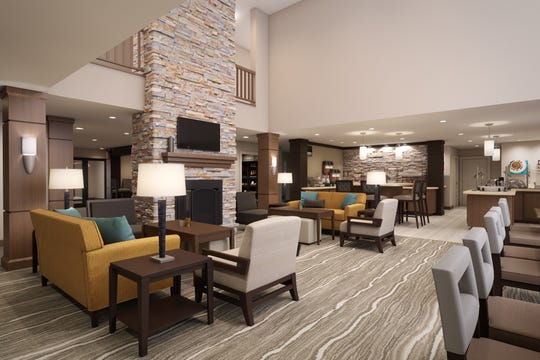 Great room in the lobby area of Staybridge Suites.