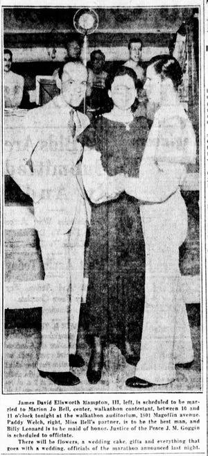 Walkathon wedding. April 26, 1933.