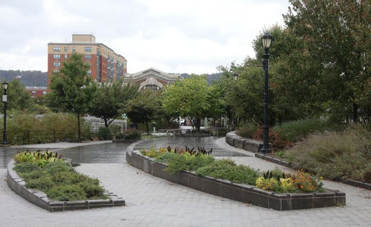 Pollinator Pathway garden, at Van Der Donck Park in Larkin Plaza in Yonkers on Wednesday, October 9, 2019. The garden, is part of the Daylighting Project of the Saw Mill River, which has transformed the neighborhood from a concrete parking lot to a community park enjoyed by Yonkers' residents through all seasons.