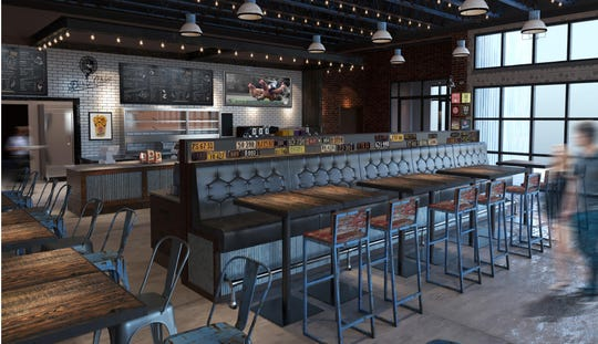 A rendering of the interior of Dixie's Southern Kissed Chicken. It will have a rustic, industrial feel, restaurateur Craig Colby said.