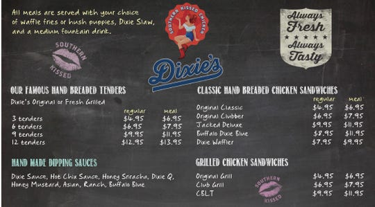 A sample menu for Dixie's Southern Kissed Chicken. The restaurant will also serve fun, carnival-type items such as fried oreos and chocolate waffles.