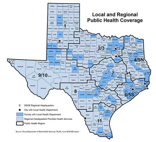 Texas Local and Regional Public Health Coverage Map. The 2/3 region, which includes Wichita County, has the highest number of reported vaping-associated illnesses and one death.