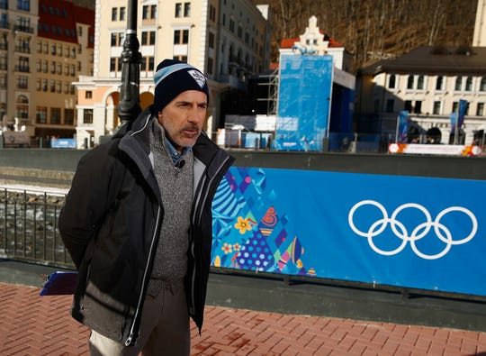 Matt Lauer in the Rosa Khutor Mountain Village ahead of the Sochi 2014 Winter Olympics on Feb. 6, 2014, in Sochi, Russia.