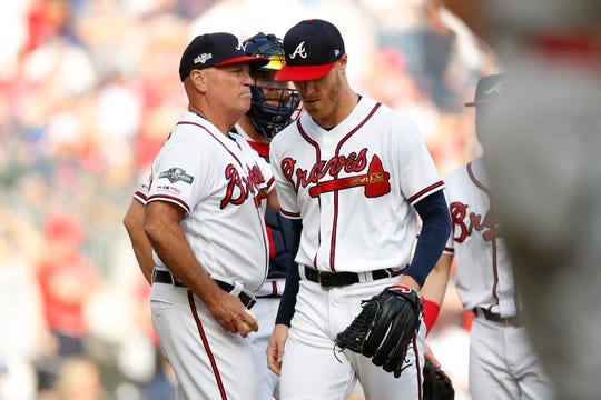 Mike Foltynewicz was removed in the first inning.