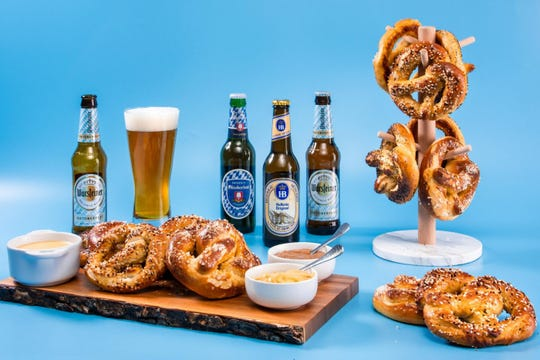 Beer and Bavarian pretzels set up in-studio.
