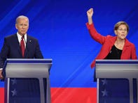 Elizabeth Warren leading Joe Biden in recent Democratic presidential primary polls