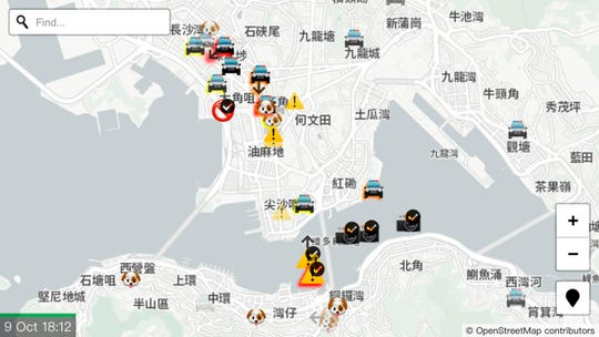 """A display of the app """"HKmap.live"""" designed by an outside supplier and available on Apple Inc.'s online store is seen in Hong Kong Wednesday, Oct. 9, 2019."""