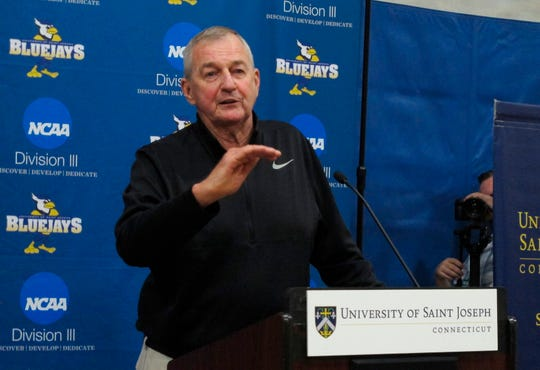 Hall of Fame basketball coach Jim Calhoun was hired in 2018 to build a new basketball program at Saint Joseph, a Division III school in West Hartford, Connecticut.