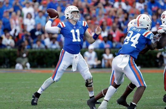 Florida quarterback Kyle Trask throws a pass during the second half against Auburn at Florida Field.