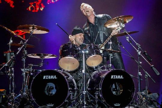 Metallica frontman James Hetfield, right, performs with drummer Lars Ulrich in Sao Paulo, Brazil, in 2017.
