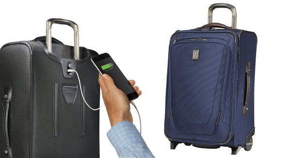 This carry-on, with a built-in USB charger, will get you through holiday travel.