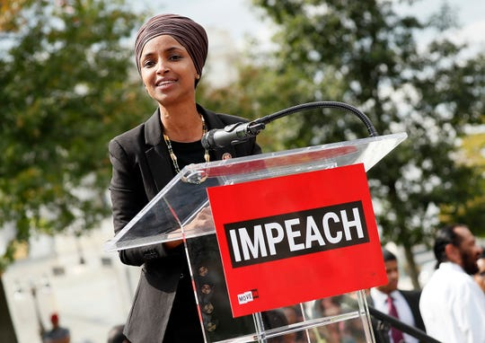 Rep. Ilhan Omar (D-MN) speaks at the Impeachment Now! rally in support of an immediate inquiry towards articles of impeachment against U.S. President Donald Trump on the grounds of the U.S. Capital on September 26, 2019in Washington, DC.