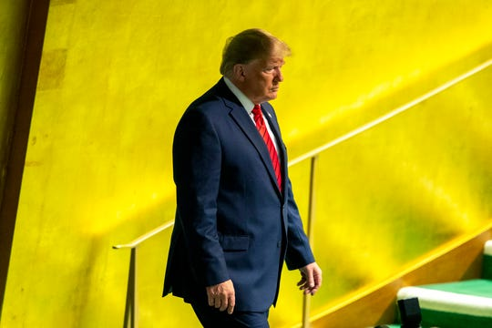 President Donald Trump arrives to address the 74th session of the United Nations General Assembly at U.N. headquarters Sept. 24, 2019.