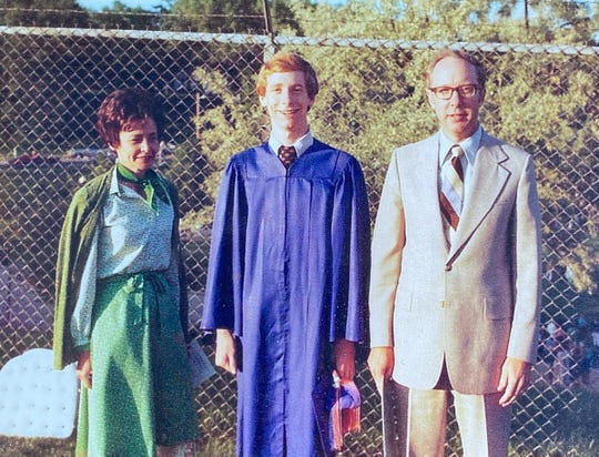 Microsoft President Brad Smith, center, graduated from Appleton West High School in 1977. Here, Smith poses with his mother, Barbara, and father, Stan.