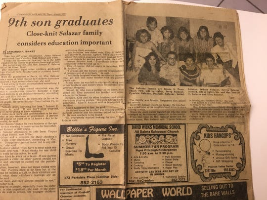 A Caller-Times article in 1983 marks the graduation of I.C. Salazar's youngest child, Gerardo, aka Jerry.