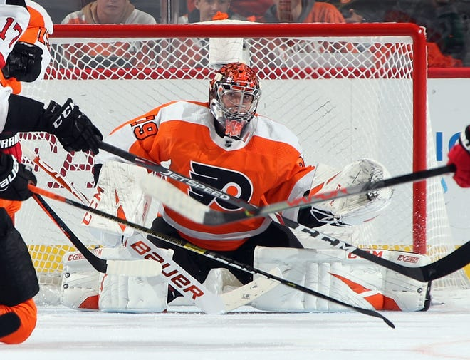 The 21-year-old goalie was called up last season four days after the Flyers played his hometown Edmonton Oilers.