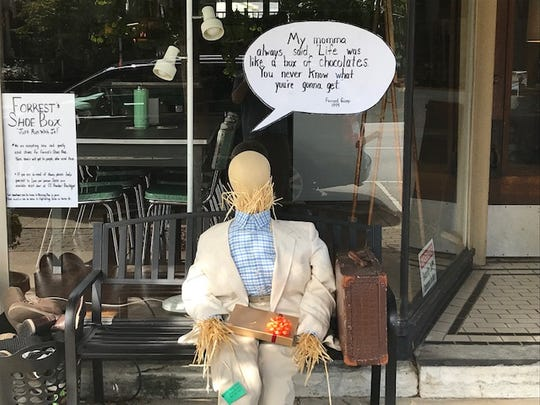 The Forrest Gump Scarecrow outside of Chillicothe Antique Emporium on Oct. 10, 2019