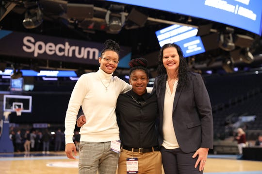 Xavier University women's basketball coach Melanie Moore participated in her first Big East Conference Media Day on Thursday, Oct. 10, 2019 at Madison Square Garden. Moore was accompanied by junior A'riana Gray, left, and Na'teshia Owens.