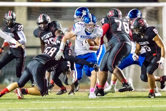 Westfield running back Tim Alliegro (5) is the Courier News Mid-State Conference Football Player of the Week