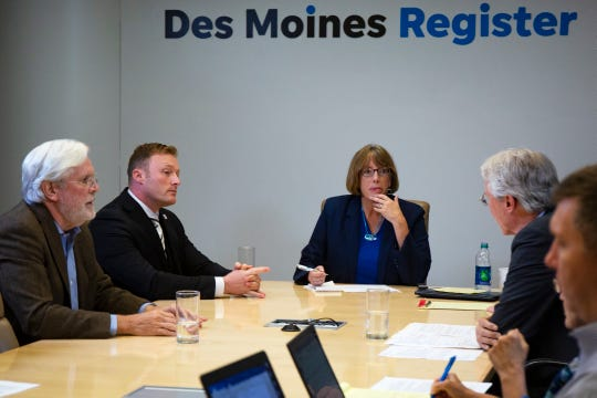 Des Moines mayoral candidates Frank Cownie, Joe Grandanette, Jack Hatch and Chase Holm meet with the Register's editorial board on Oct. 10, 2019.