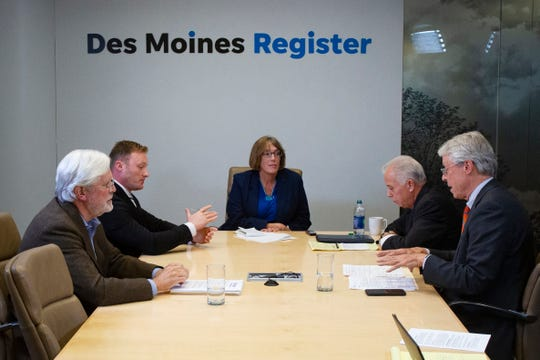 Des Moines mayoral candidates Jack Hatch (far left), Chase Holm, Joe Grandanette, and Frank Cownie meet with the Register's editorial board on Oct. 10, 2019.