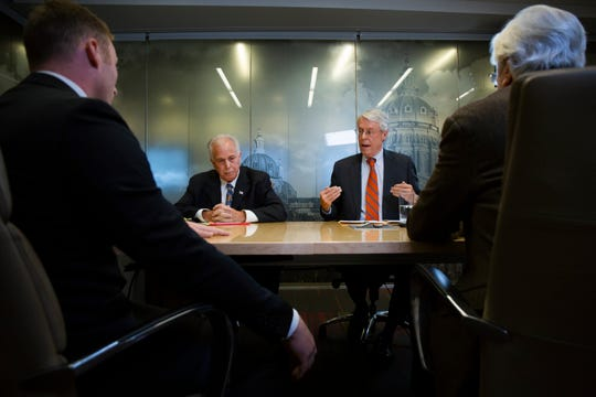 Des Moines mayoral candidates Chase Holm, Joe Grandanette, Frank Cownie, and Jack Hatch meet with the Register's editorial board on Oct. 10, 2019.