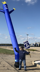 Striker Robert Potts, 47, mans the picket line, sometimes alone, at GM's now idled Lordstown Plant in Ohio.